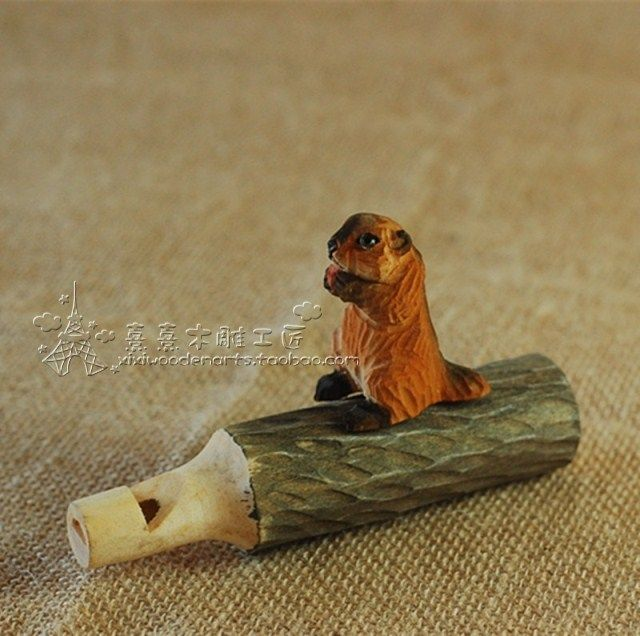 Handmade wood sculpture squirrel whistle wood carving $27.52