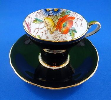 Stunning Handpainted Poppies on A Black Corset Aynsley Tea Cup and Saucer Set