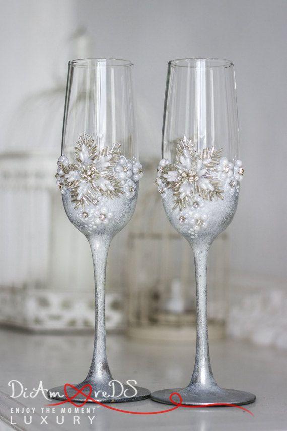 Wedding Champagne Glasses Silver Wedding Glasses Personalized Toasting Glasses Winter Wedding Wedding Champagne Glasses Wedding Wine Glasses Wedding Glasses
