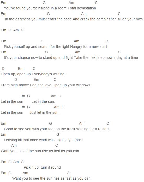 Capo 3 Let In The Sun Chords Take That | Take That | Pinterest ...