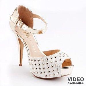 8c1f4d49744a Women s Rock Republic White Gold Snakeskin Studded Two Tone Peep Toe Heels