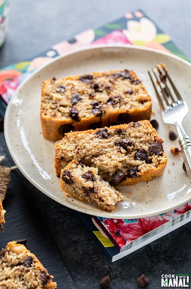 Soft and eggless chocolate chip cake loaf makes the ...