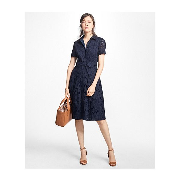 Brooks Brothers Cotton Eyelet Shirt Dress (19,195 INR) ❤ liked on Polyvore featuring dresses, short sleeve cotton dress, pleated dress, short-sleeve dresses, cotton shirt dress and long white shirt dress