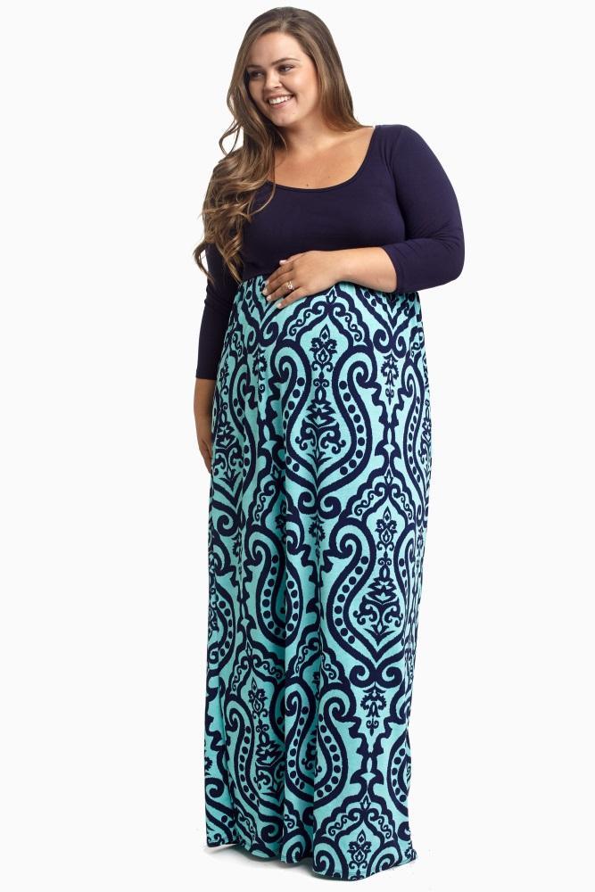 Aqua Navy Damask Bottom Plus Size Maternity Maxi Dress | Print ...