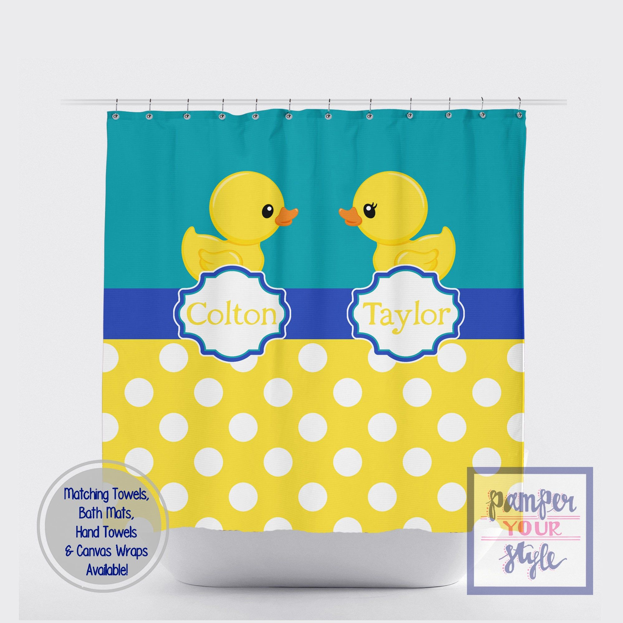 Duck Shower Curtain Rubber Ducky Kids Bath Curtain Personalized Duck Shower Curtain Siblings Bathroom Decor Duck Shower Curtain Kids Bath Rubber Ducky