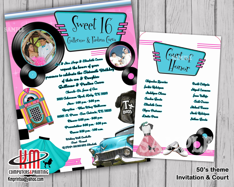 Gmail panda theme - 50s Theme Sweet 16 Quince Birthday Invitation Kmprint210 Gmail Com
