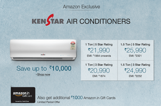 #KenstarAirConditioners Special Offer!! Buy Kenstar Air Conditioner and Get Upto Rs.10000 OFF & Rs.1000 Amazon #GiftCard Kenstar A/C purchase, Now 10% Cashback on #AxisBank Credit/Debit Cards. For More.