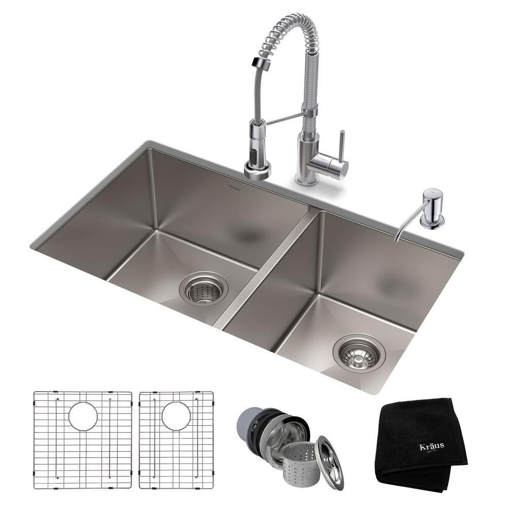 Kraus Standart Pro All In One Undermount Stainless Steel 33 In