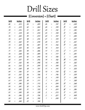 Drill Bit Size Conversion Chart Drill Bit Sizes Drill Drill Bits
