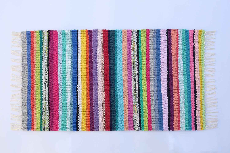 Multicoloured Cotton Rag Rug Runner