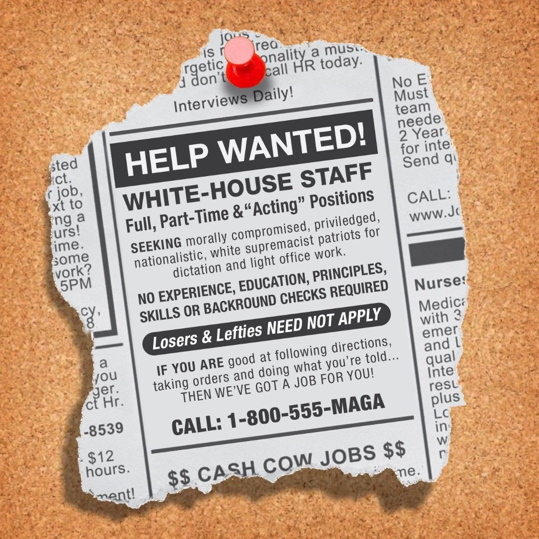 White House Help Wanted Ad Posted At Prestigious Universities Community Colleges And Unemployment Offices Help Wanted Ads Help Wanted Unemployment Office
