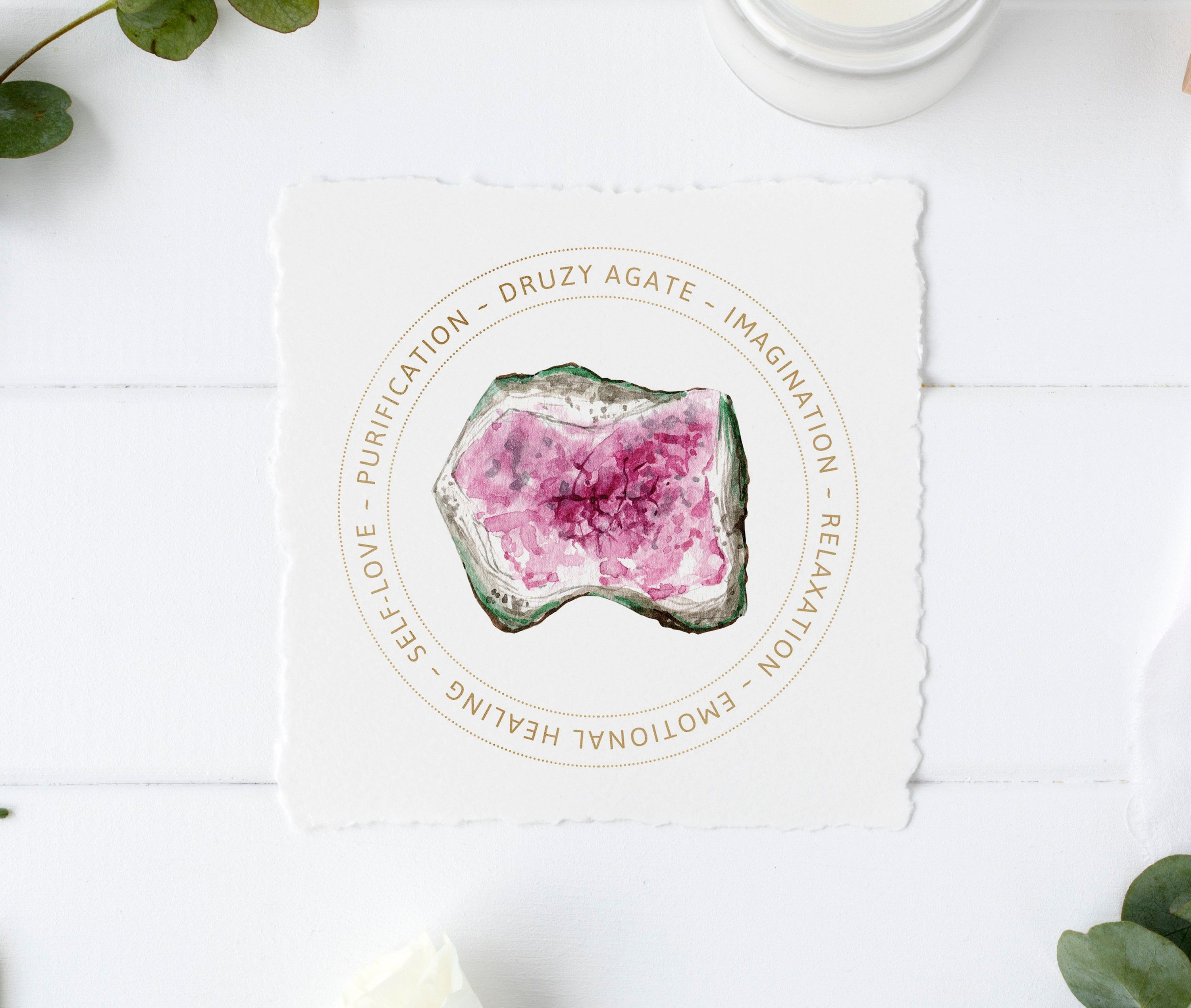 Pink Druzy Agate Jewelry Display Card - Druzy Agate Meaning - Printable - Gemstone Jewelry Card - Gift Box Tag - Purification Stone #gemstonejewelry