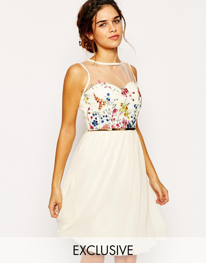 Little Mistress Mesh Top Skater Dress With Floral Embroidery Bust ...