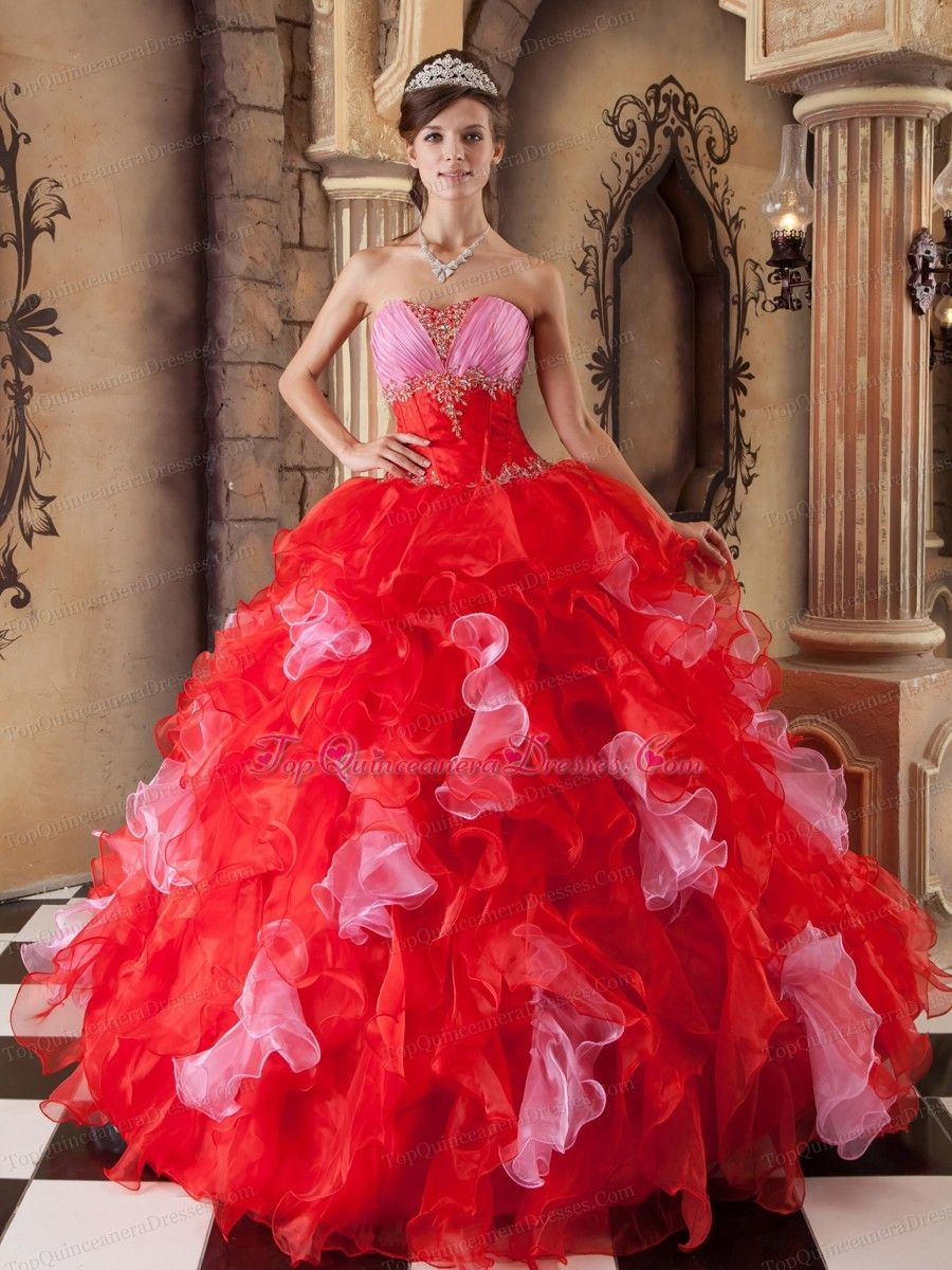5ecf60586ad Red Quinceanera Dress Strapless Organza Beaded Ruffles Ball Gown ...