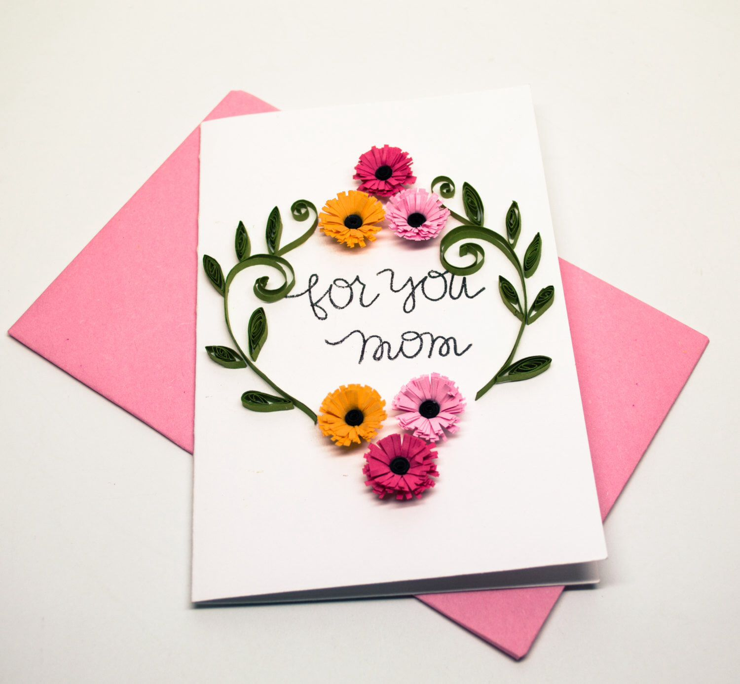 Mother's day card for wonderful mother. Paper flowers in
