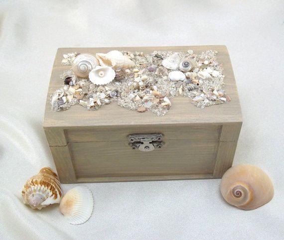 Beach Wedding Ring Bearer Pillow Box Rustic Beach Style Keepsake