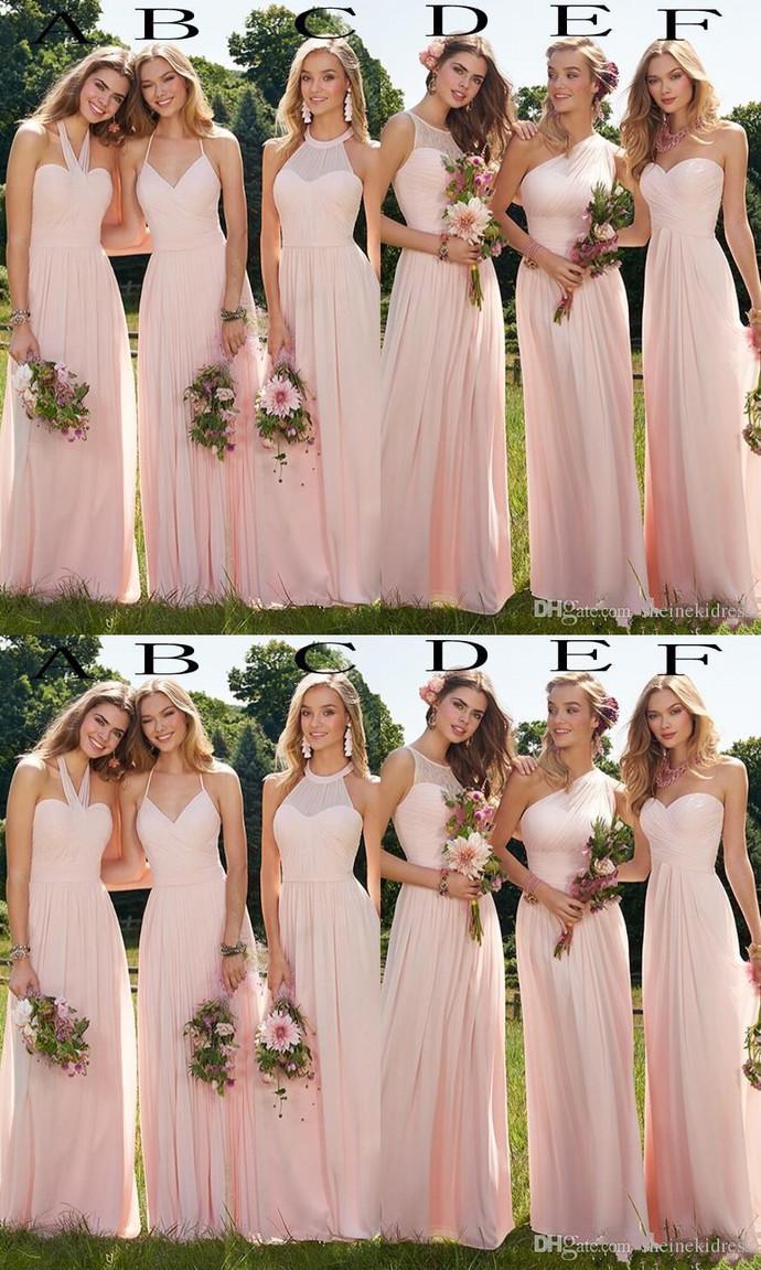 Summer 2020 Cheap Blush Chiffon Long Bridesmaid Sofiedress In 2020 Summer Bridesmaid Dresses Bridesmaid Dresses Boho Mismatched Blush Bridesmaid Dresses,Formal Dress For Winter Wedding