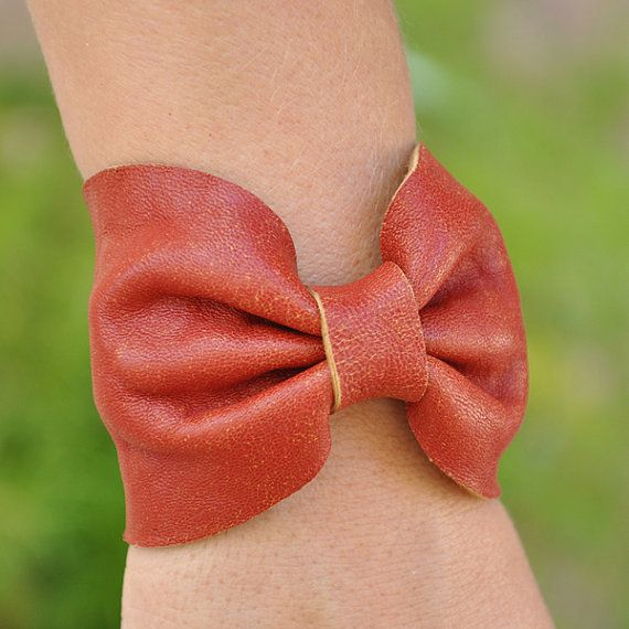 Rustic Red Leather Bow Bracelet