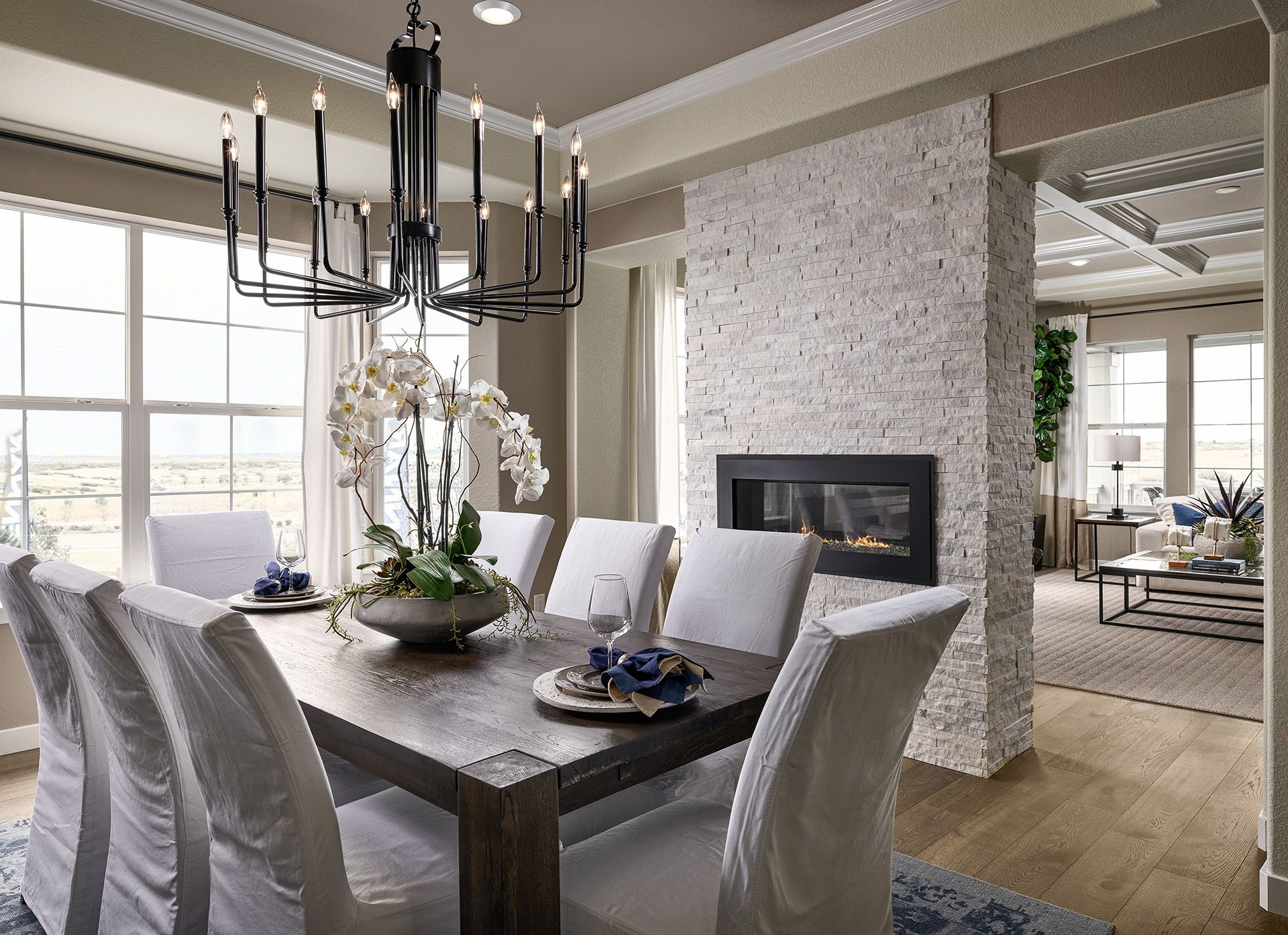 Would You Love To Be Eating A Nice Meal In This Dining Area Living Room Decor Apartment Dining Room Fireplace Modern Farmhouse Living Room
