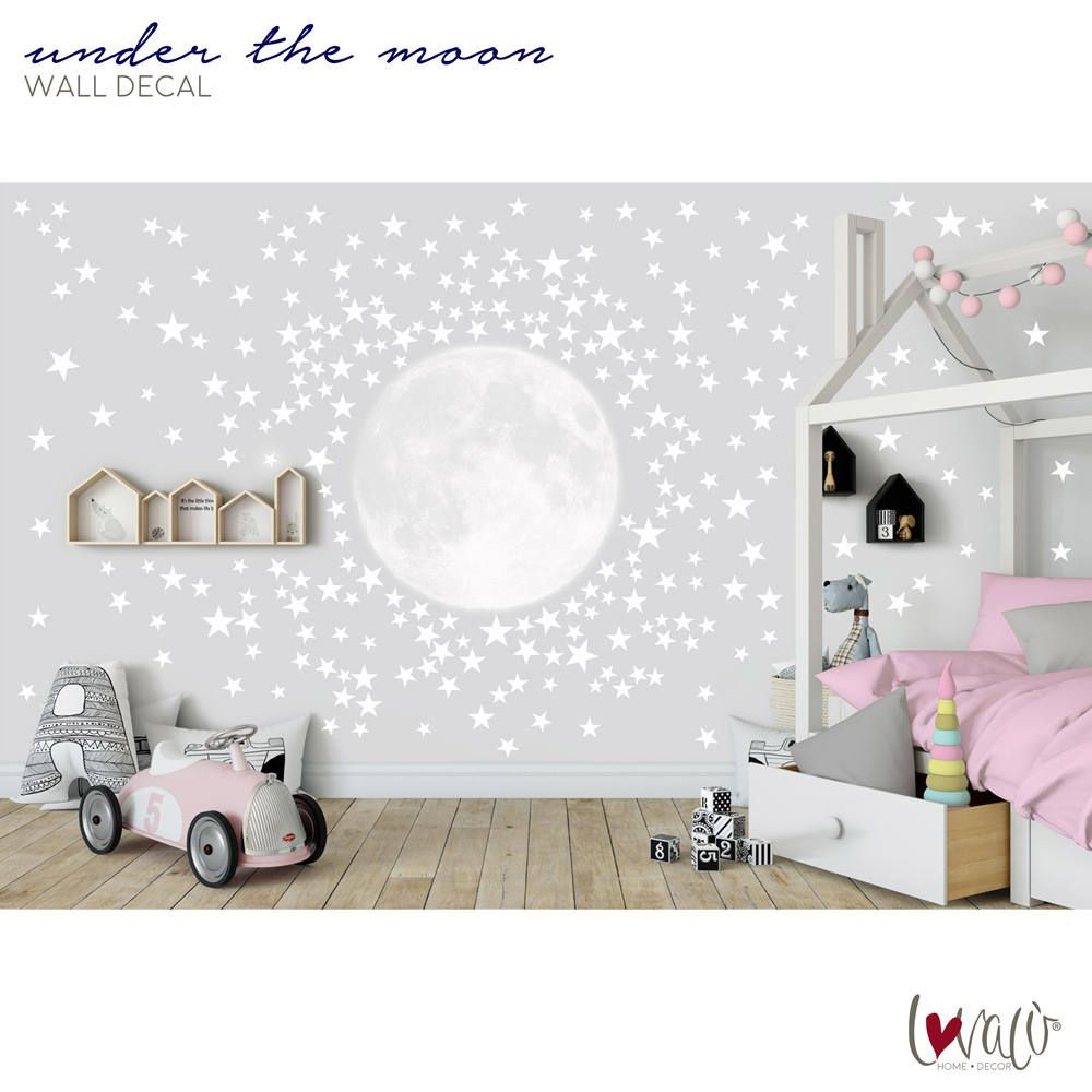 Moon With 300 Stars Wall Decal For Nursery Children S Rooms Bedroom Wallpaper Mural Large Self Adhesive Moon Stars Wall Decals Peel Sti Camerette Parete Bebe