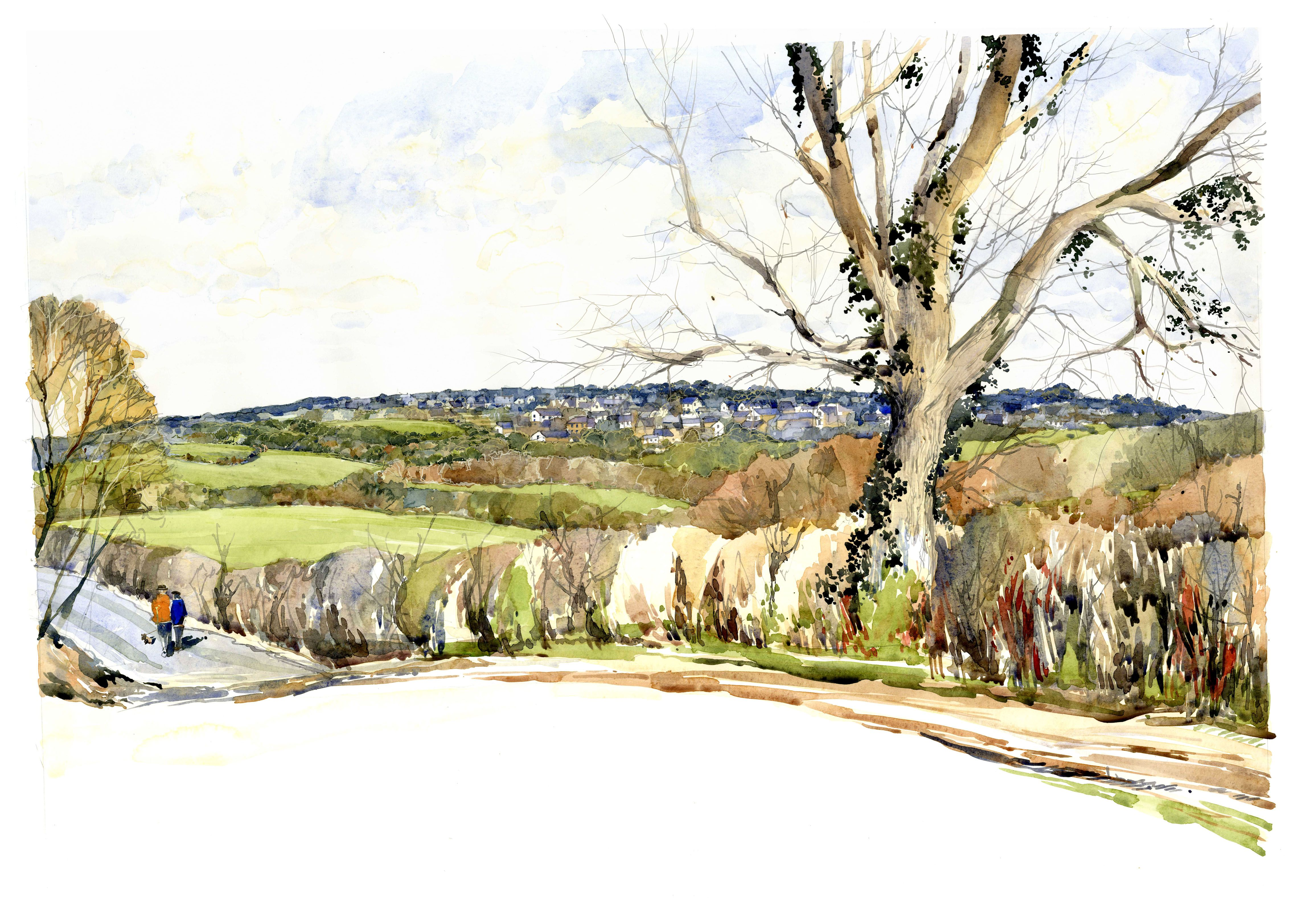 Watercolour View of Proposed Urban Extension, SW England www.nickhirst.co.uk