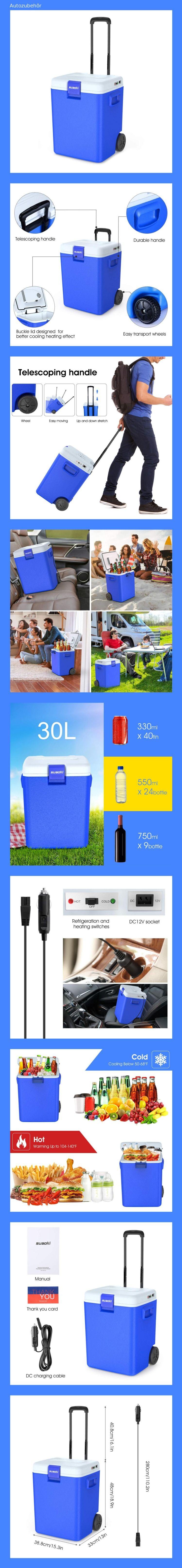 Suaoki Kuhlbox 30 Liter Ac Dc Thermo Elektrische Tragbare Kuhlbox