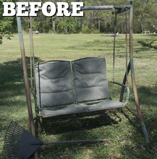 Old Swing Make Over is part of Painted patio - Woman updates old swing—look at how incredible it is in her backyard now! This transformation is unbelievable! I took a 2 person old swing and gave it a make over