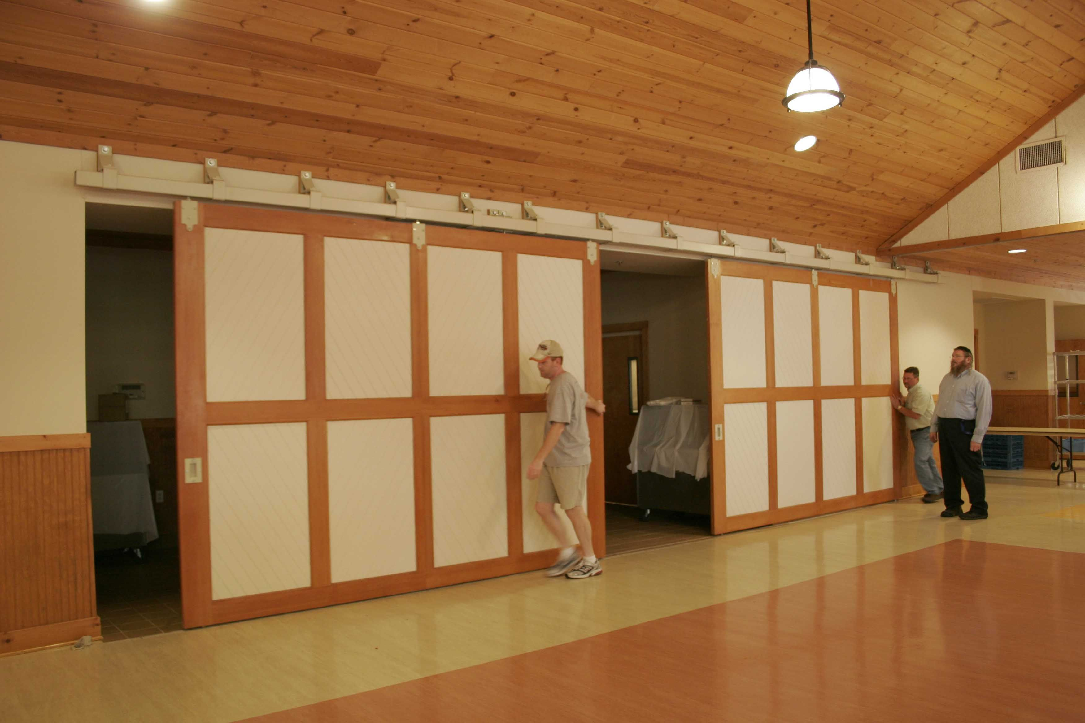 Hide The Mess School Cafeteria With Sliding Doors On Richards Wilcox Box Track Interior Exterior Doors Sliding Doors Exterior Barn Doors Sliding
