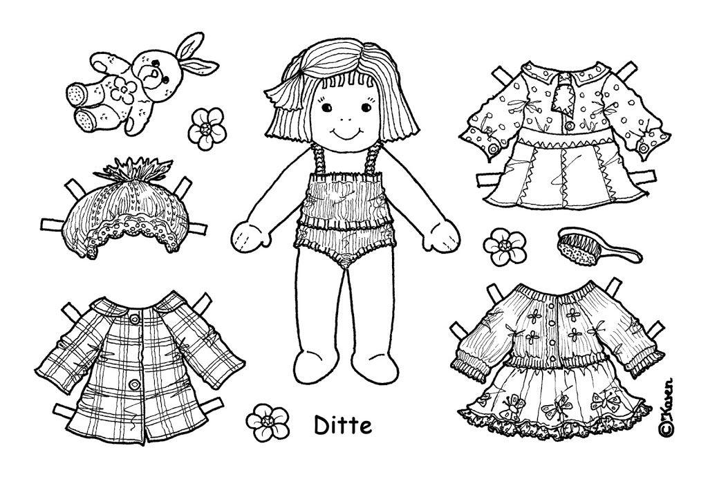 Påklædningsdukker enkeltark til at farvelægge. Paper Dolls One-sheets to colour. - Karen Bisgaard - Picasa Webalbum
