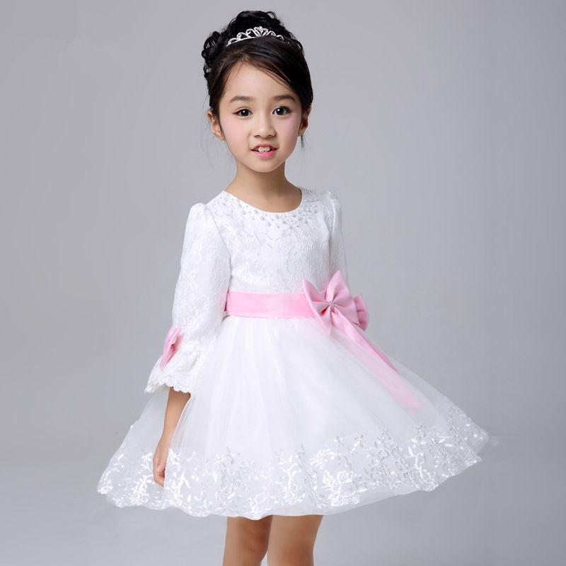bd442aa09f32 cabritos de la manga larga vestido blanco con las muchachas del arco ...