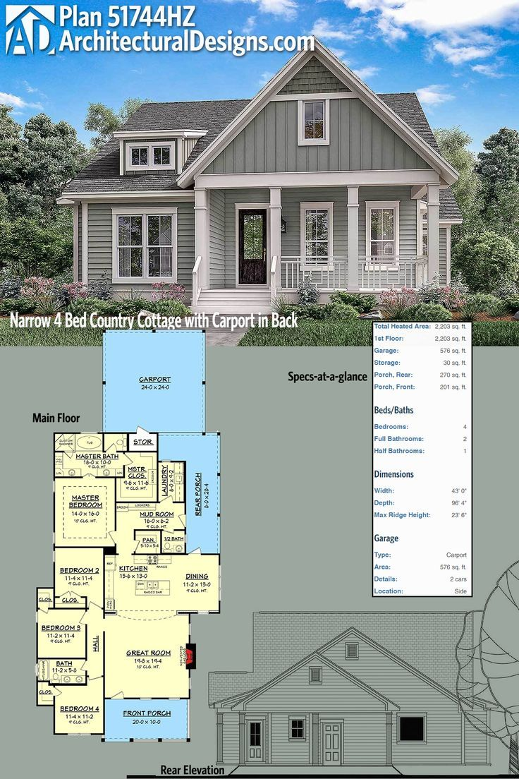 Plan 51744HZ Narrow 4 Bed Country Cottage with Carport in