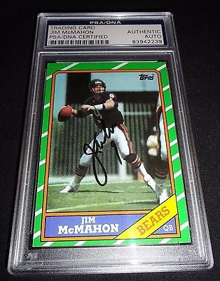 1986 Topps Jim Mcmahon Signed Bears Autograph Card PSA/DNA Certified  SB XX