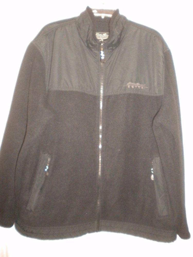 Eddie Bauer Size Large Black Ebtek Fleece Blend Zipper Mens Jacket Sweatshirt #EddieBauer #Jacket
