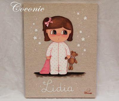 Coconic cuadro infantil pintado a mano personalizado de for Cuadros infantiles al oleo