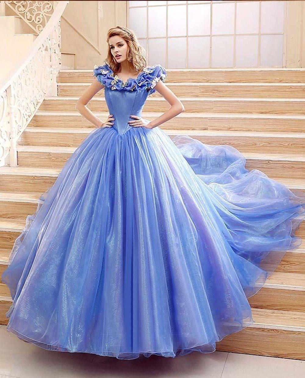 Movie Cinderella Cosplay Dress For Adult Fancy Princess Vintage blue prom Dress