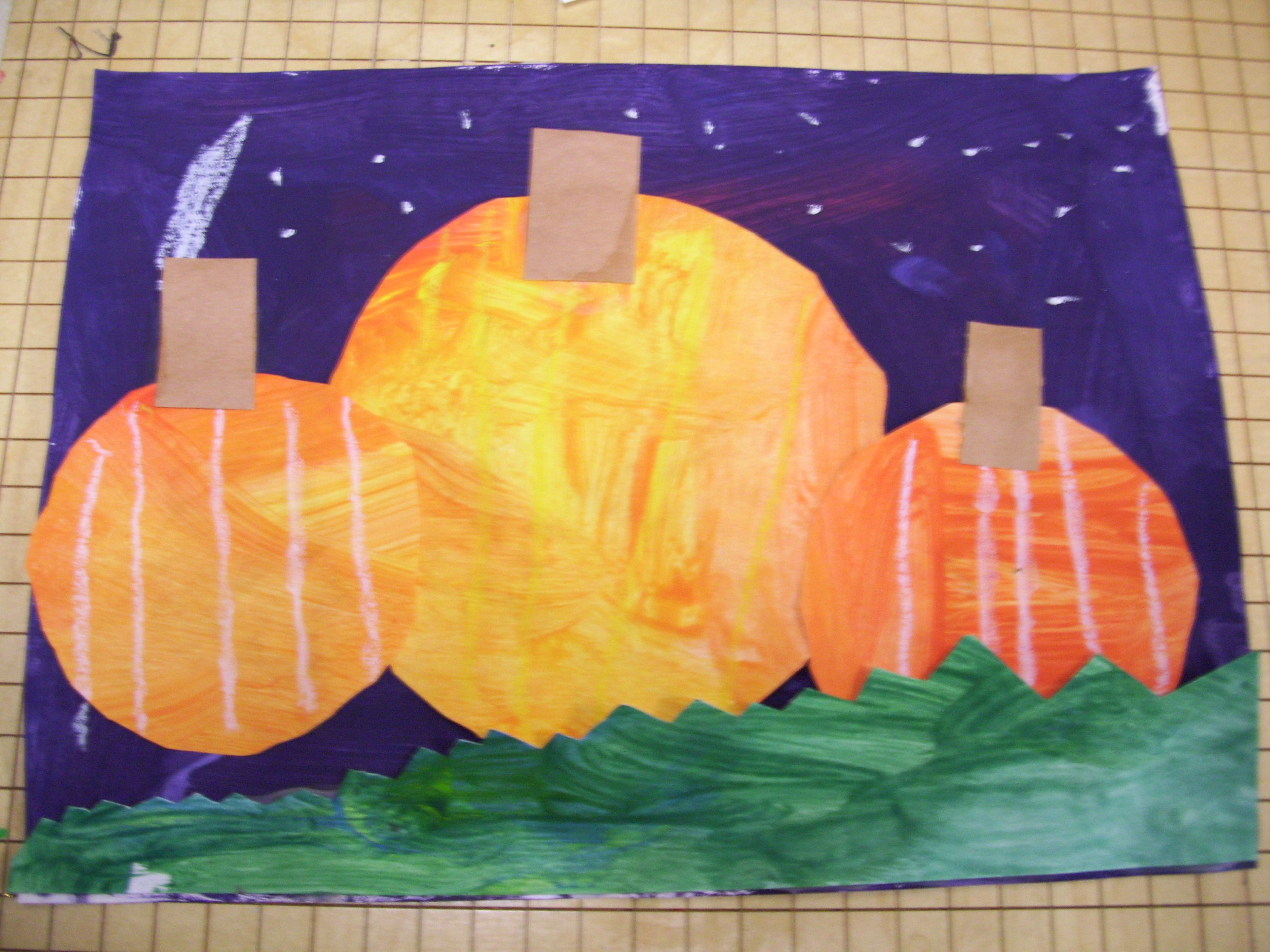 Color mixing, secondary colors, collage, Fall pumpkin picture ...