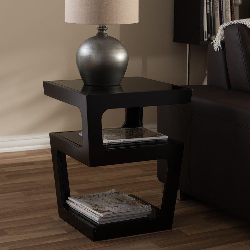 Clara Modern Tall Black 3 Tiered End Table Black Baxton Studio