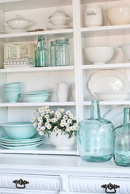 sea glass aqua in kitchen hutch with old white ironstone gorgeous