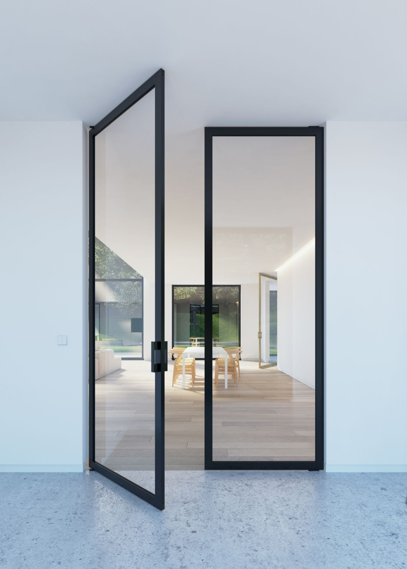 Double glass pivoting door with steel look frames for Glass door frame
