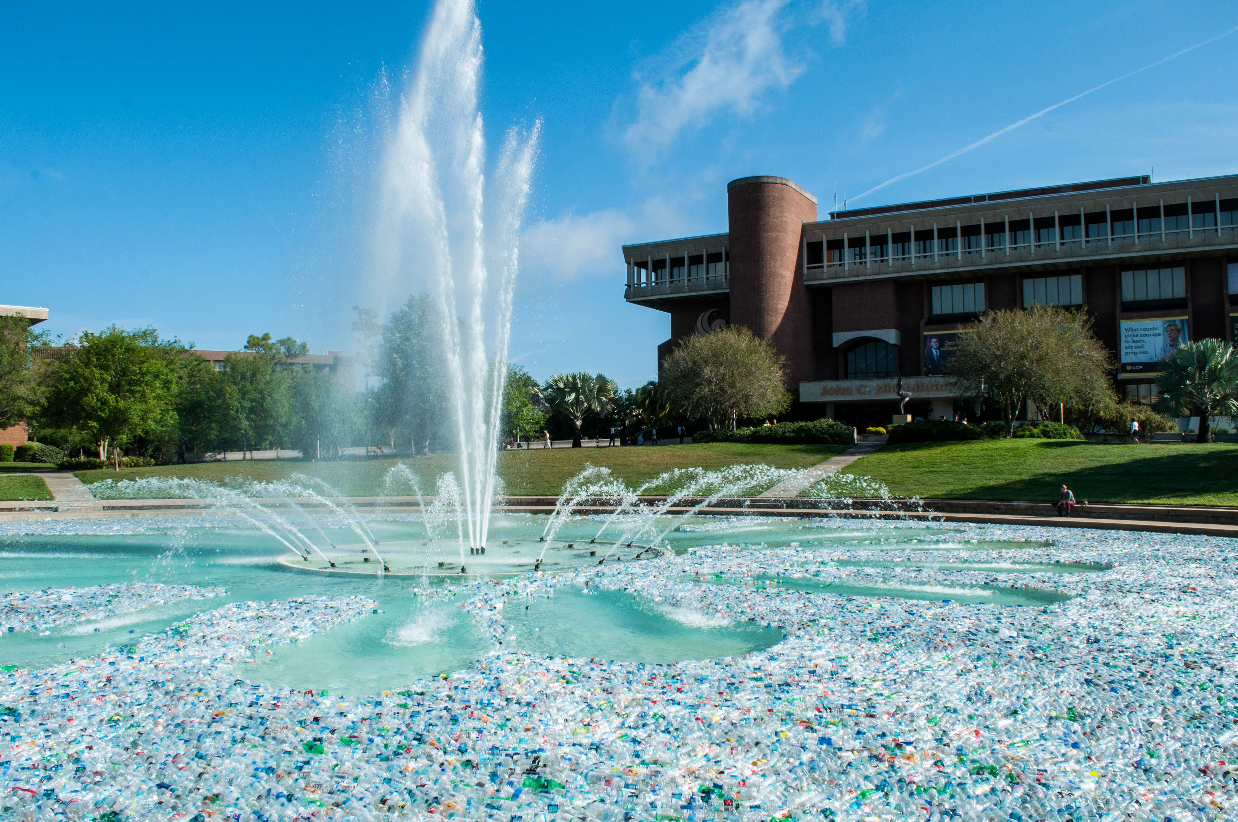 UCF Fills Reflecting Pond With 250K Water Bottles For