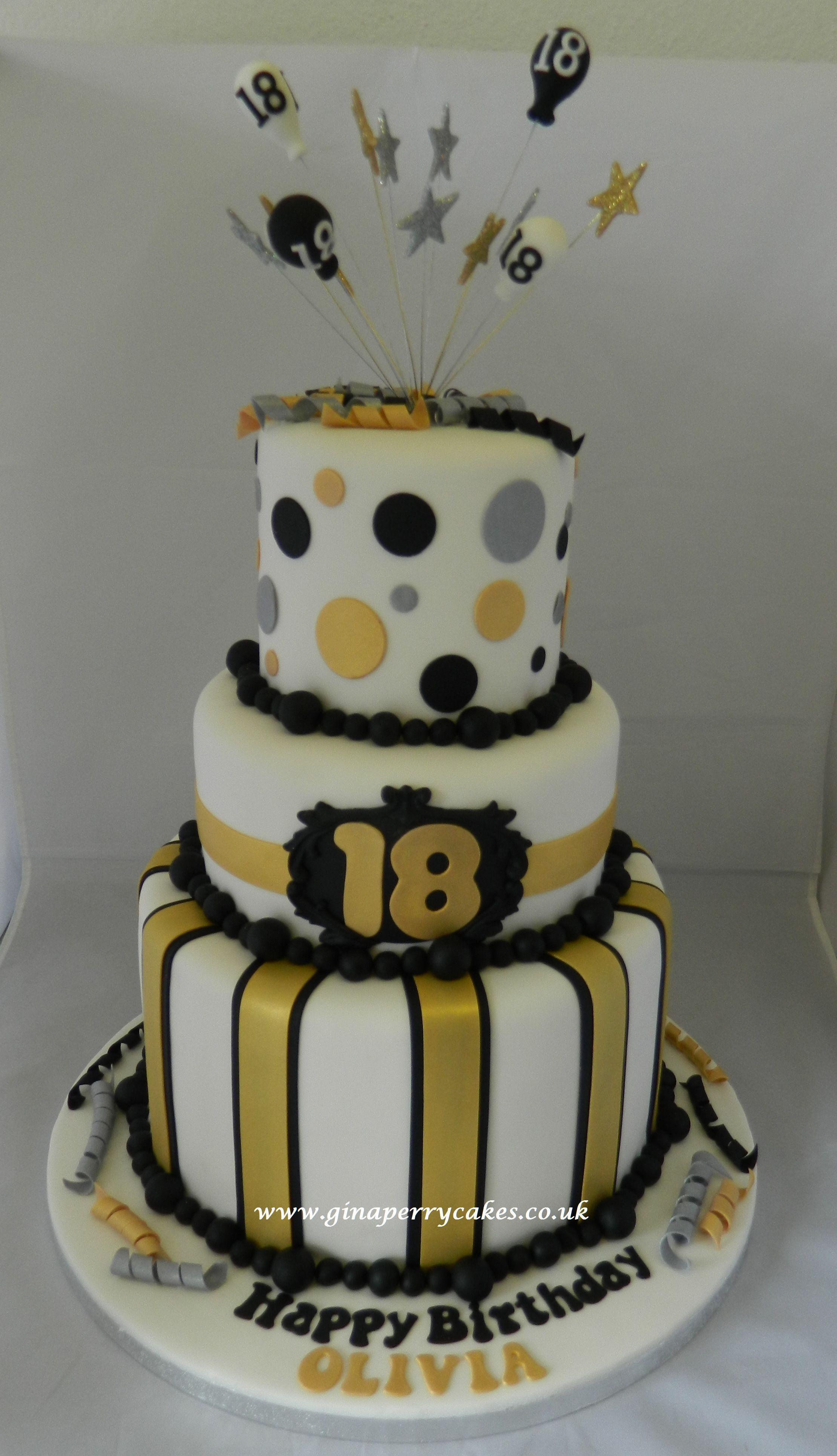 Image Result For 18th Birthday Cake For Men Gold Black And White Geburtstagstorte Geburtstag Torte Junge Blatt Kuchen