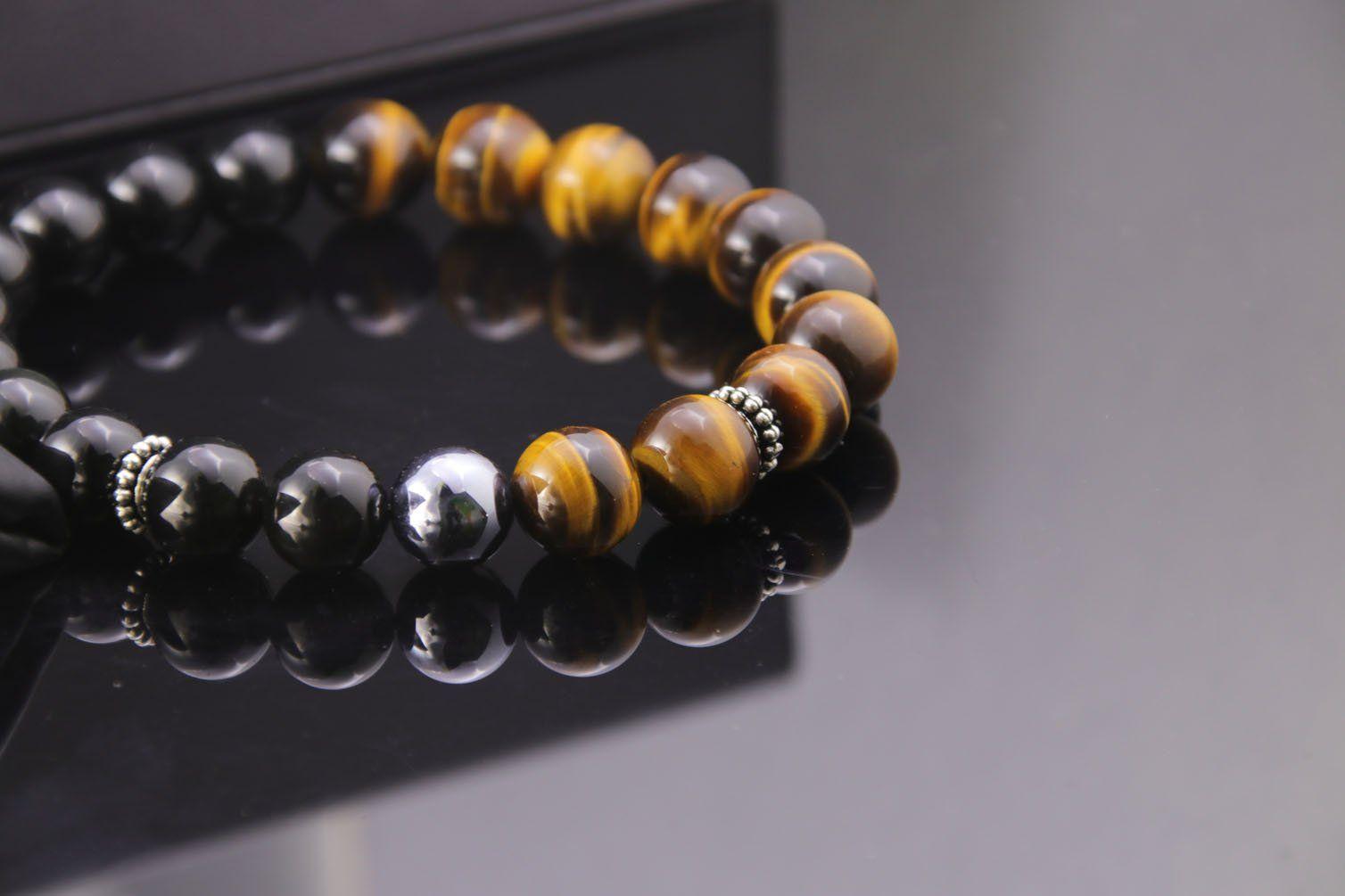 HASKARE Healing Bracelet Mens Chakra Healing Stone Bracelet Tiger Eye Terahertz Obsidian Beads Bracelets