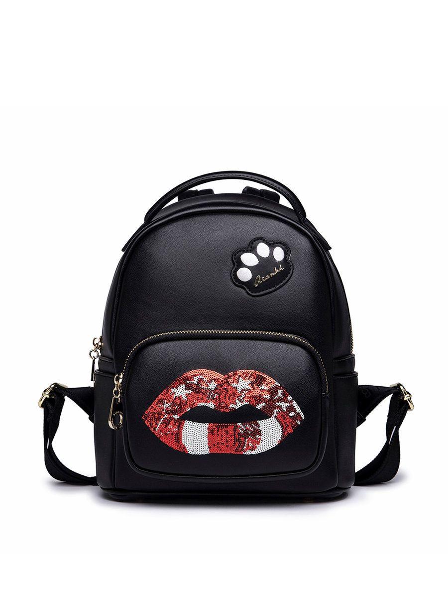 #AdoreWe #StyleWe QIANBH Black Zipper Lips Sequins Embellished Backpack - AdoreWe.com