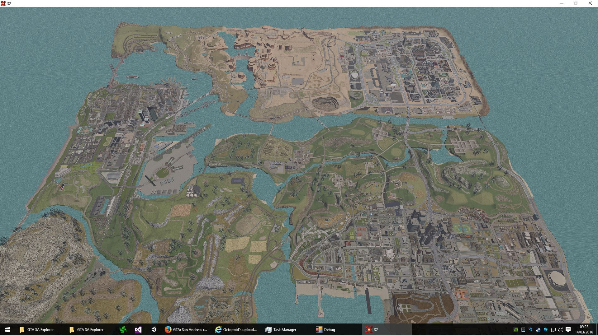 GTA San Andreas map zoomed out with no draw distance fog    News of     GTA San Andreas map zoomed out with no draw distance fog