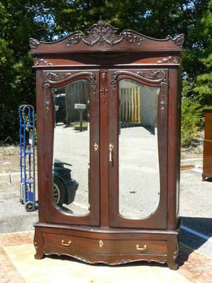 Antique 19c Armoire Wardrobe Victorian Rococo Mahogany Birdseye Maple  Interior | EBay