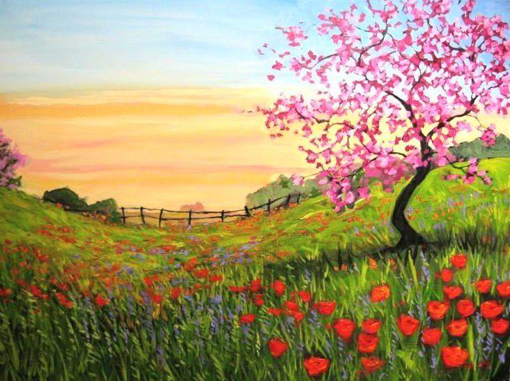 Contoh Lukisan Pemandangan Yang Mudah Ditiru Alam Painting Pemandangan Lukisan
