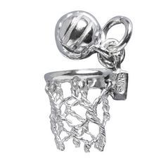 Netball Charm with Moving Ball in Sterling Silver or Gold | Silver Star Charms