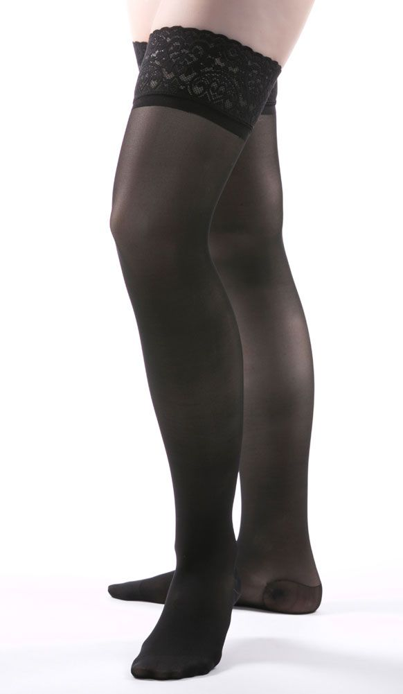 1527f600dcb Allegro Premium Italian Sheer Thigh Highs in Black - The unique 3-D knit  produces a very harmonious mesh with four-way stretch