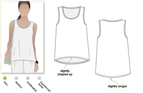 Evie Knit Top - Sizes 10, 12, 14 - Women\'s Sewing Pattern - Singlet ...