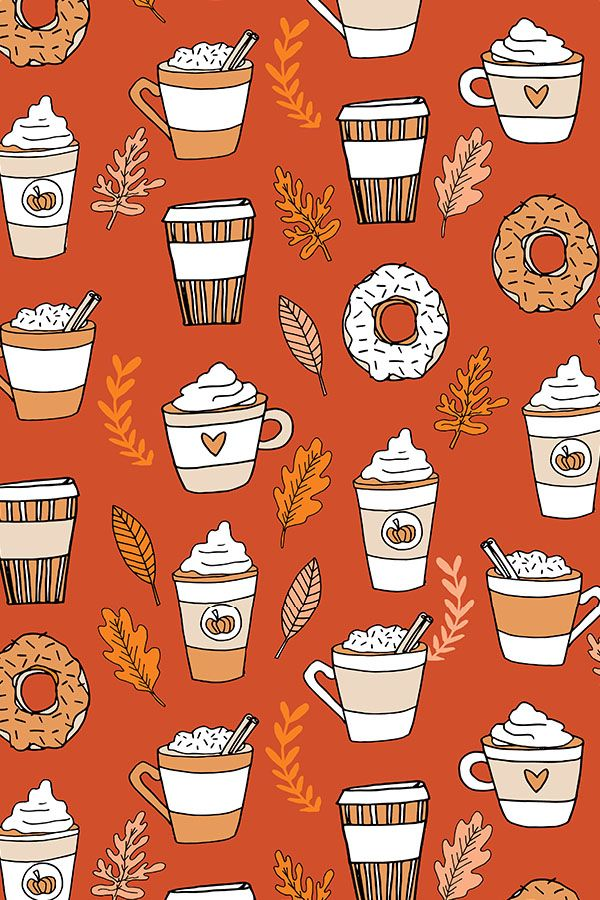 Colorful fabrics digitally printed by Spoonflower – pumpkin spice latte fabric coffee and donuts fall autumn traditions rust